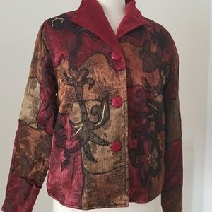 Burgundy Gold Multi satiny jacket Coldwater Cr Sm